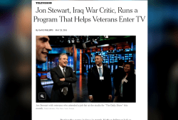 Jon Stewart is helping vets break into TV...