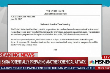 Trump accuses Assad of prepping chem attack