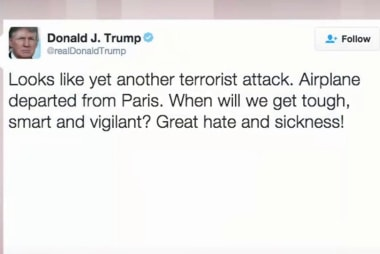 Donald Trump tweets about EgyptAir flight