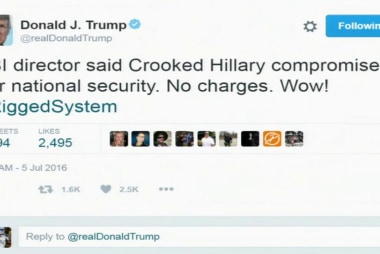 Trump tweet: 'No charges. Wow! #RiggedSystem'