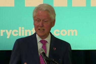 Bill Clinton cautions about Trump slogan