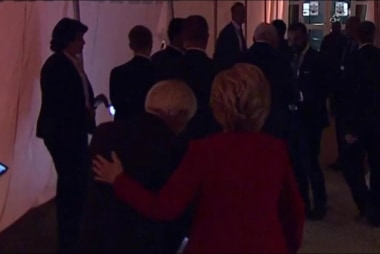 Clinton arrives for the first presidential...