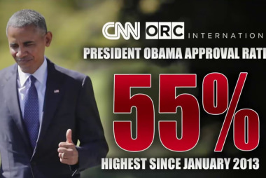 Obama approval rating now at 55 percent