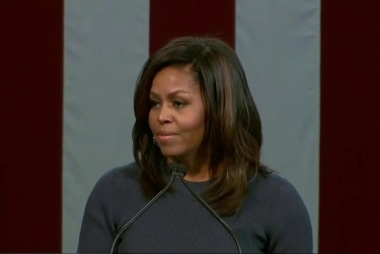 Michelle Obama denounces Trump's rhetoric