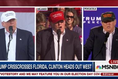 Trump crisscrosses Florida with Clinton...