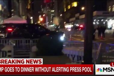 Trump ducks media, sneaks out for dinner