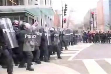 Protesters, police clash near Trump parade