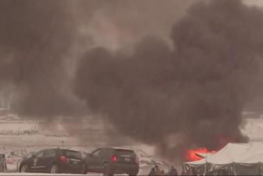 Fires break out at Dakota Access Pipeline...