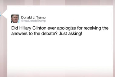 Trump asks if Clinton apologized for...