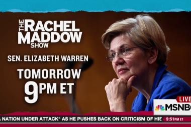 Senator Warren joins Rachel Maddow Wednesday
