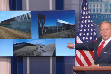 Spicer tries to sell border fence as wall