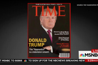 Fake Trump Time Magazine cover hangs at...