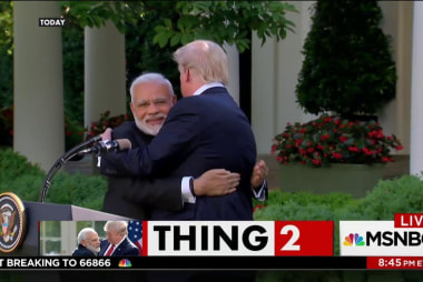 Trump and Indian Prime Minister Modi hug...