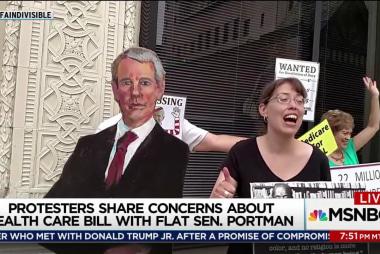 Health care protest uses 'flat Rob Portman'