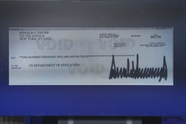 Trump donates $100K to Education Dept....