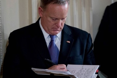 Sean Spicer's copious note-taking could be...