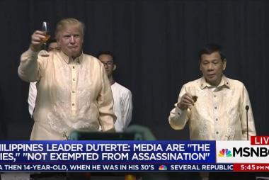 Trump laughs when Duterte calls media 'spies'