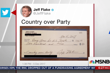 Jeff Flake sends check to Doug Jones campaign