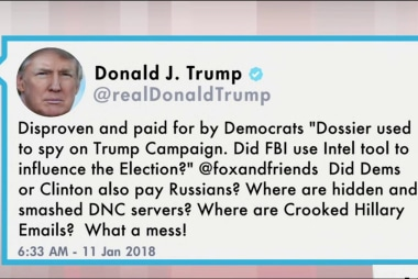 Trump slams Russia dossier, Clinton in new tweet
