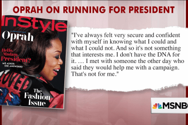 "Oprah on running for president: ""It's not in my DNA"""