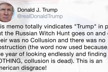 Trump tweets Nunes memo 'totally vindicates' him