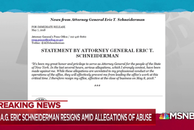 NY Attorney General Eric Schneiderman resigns after abuse report