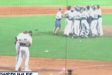 #GoodNewsRUHLES: Pitcher hugs friend after striking him out