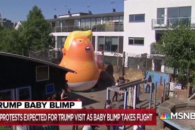 Protestors prepare to march under shadow of 'Trump baby' blimp