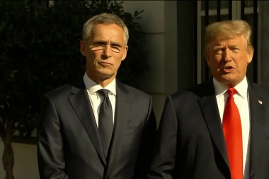 At NATO summit, Trump does what Putin wants most