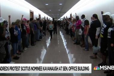 Protesters dog Brett Kavanaugh through meetings with senators