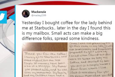 #GoodNewsRUHLES: Woman buys neighbor coffee, passes on kindness