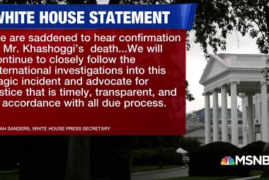 White House 'saddened' to hear of Khashoggi's death
