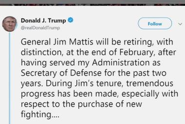 BREAKING: Trump announces Defense Secretary Mattis will retire in February