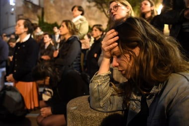 Crowd outside Notre Dame 'petrified' watching flames