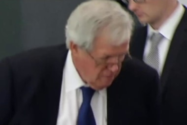 Hastert appears in court, pleads not guilty