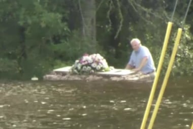 Pastor retrieves floating casket