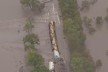Texas flooding causes train derailment