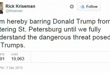 Mayor of St. Petersburg 'bans' Trump