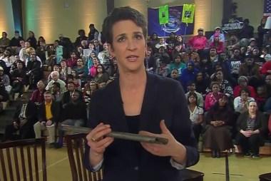 Maddow examines damaged Flint pipes