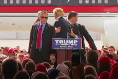 Secret Service shield Trump from protester