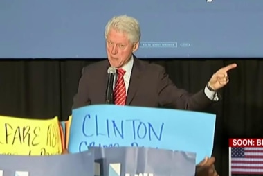 Bill Clinton defends crime bill to protesters