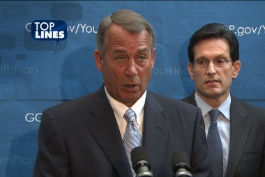 Top Lines: Boehner 'signs up' for health care