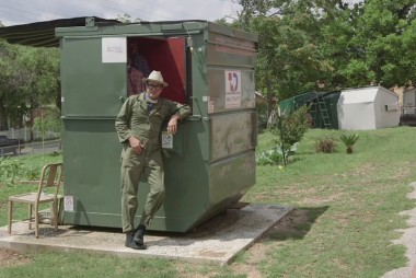 Professor uses dumpster as a home