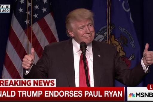 Trump reads endorsements of Ryan, McCain
