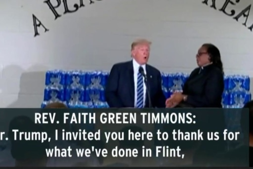 Trump scolded trying to politicize Flint trip