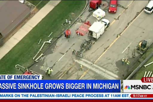 Sinkhole continues to grow in Michigan