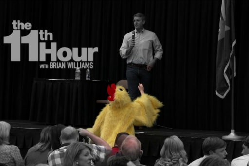 Woman in chicken suit among voters at...