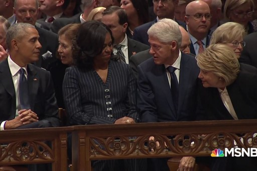 Watch Trump, Clinton, Obama sit together at Bush funeral
