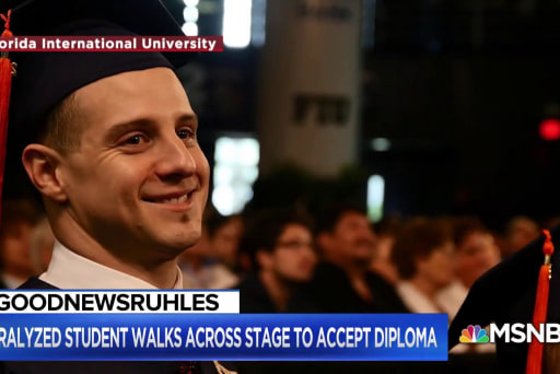 #GoodNewsRUHLES: Paralyzed graduate walks across stage for diploma