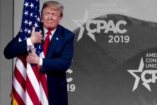 Trump hugs U.S. flag, calls 'bulls**t' on Russia in unhinged CPAC speech